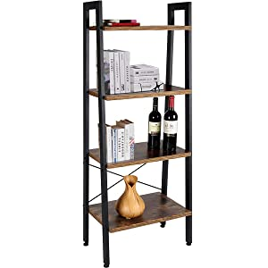 TomCare Bookshelf 4-Tier Ladder Shelf Bookcase Storage Rack Shelves Shelf Display Rack Plant Stand Wood Look with Metal Frame Multifunctional for Entryway Living Room Bathroom Bedroom Home Office