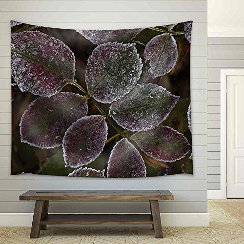 Autumn Leaves with Frost Closeup Fabric Wall Tapestry