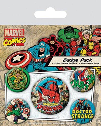 15x10 cm 1 X 38mm /& 4 X 25mm Badges Paquet De Badges 1art1/® Set: Spider-Man + 1x Sticker Surprise Marvel Comics