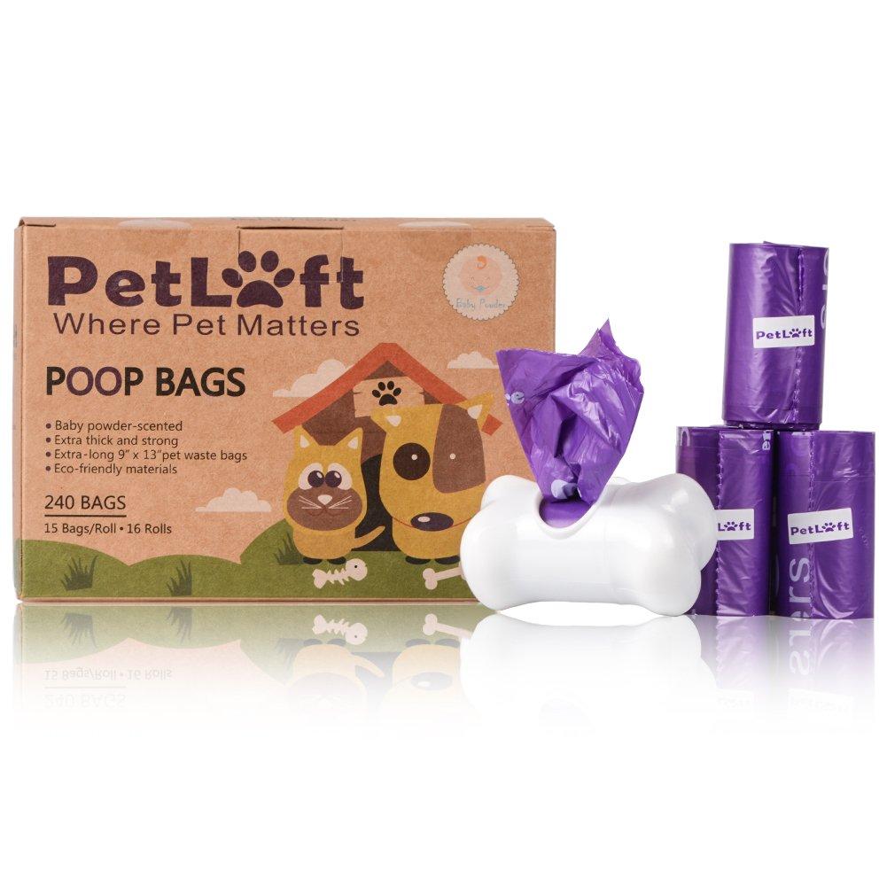 PetLoft - Bolsa de residuos para Perros, 240 Unidades, Biodegradable, Resistente al Medio Ambiente, con tecnología EPI, dispensador Incluido: Amazon.es: ...