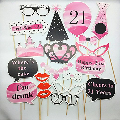 Set of 20 PCS Photo Booth Props Kit, Spectial Gift For 21st Birthday Party Celebration, 21st Bithday Party Decorations