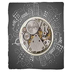 Kisscase Custom Blanket Clock An Alarm Clock Print with Buildings and Clouds Around It Checking the Time Bedroom Living Room Dorm Beige and White