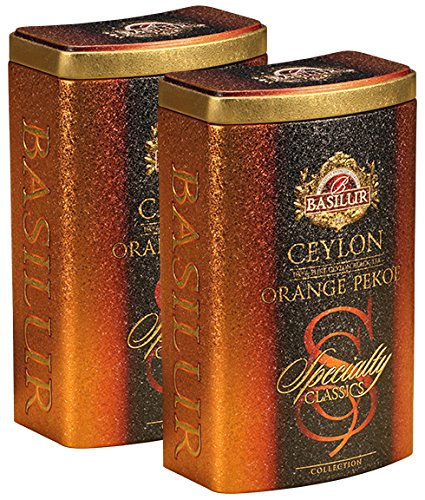 Basilur | Ceylon Orange Pekoe | Ultra-Premium Loose Leaf Black Tea | Specialty Classics Collection | Free Tea Brewing Filters inside | 100g / 3.52oz. per Tin (Pack of 2)