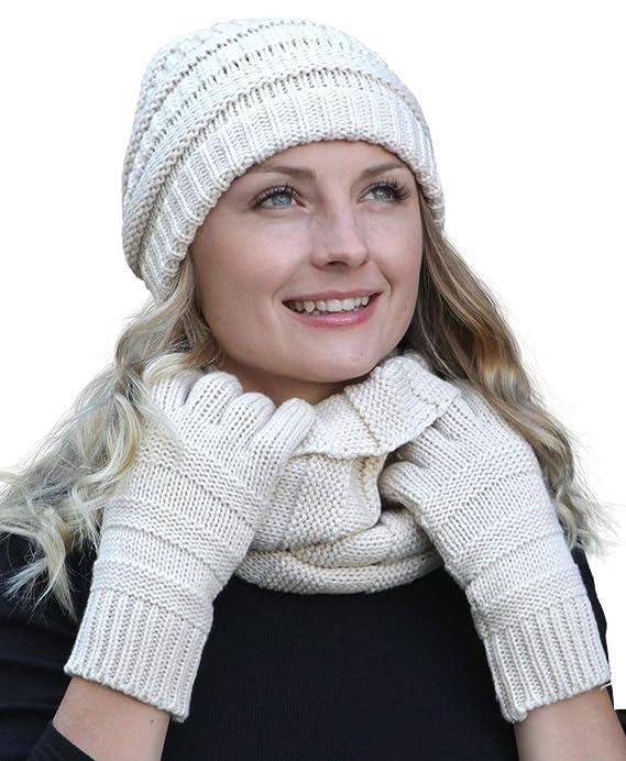 45792c2d15fbf7 Hilltop Winter Set aus Loop-Schal, Strickmütze und Handschuhen/Beanie mit  Öffnung für den Zopf, Winter Set:Altrosa: Amazon.de: Bekleidung