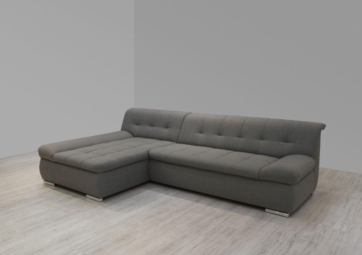 Dreams4Home Polsterecke Aulis II. Sofa Ecksofa Couch wahlweise mit Schlaffunktion grau stukturiert, Ausfühung Anschlag:Ohne Schlaffunktion - Longchair links
