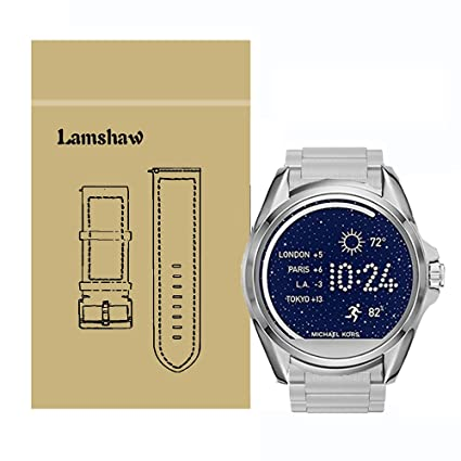 for Michael Kors Access Bradshaw Bands, Lamshaw Stainless Steel Metal Replacemet Straps for MK Access Touchscreen Bradshaw Smartwatch (Metal-Silver)