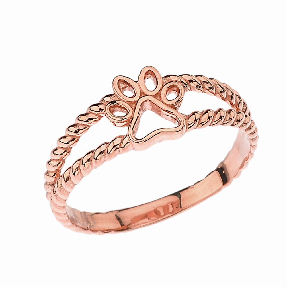 Elegant 10k Rose Gold Openwork Dog Paw Print Double Rope Ring (Size 9.5)
