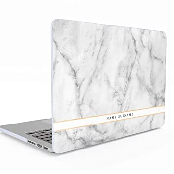 Funda Personalizada Blanco Marmol Customizable First and Last Name Text White Marble Macbook Pro 13 Pulgadas with or Without Touch Bar Modelo: A1706 / ...