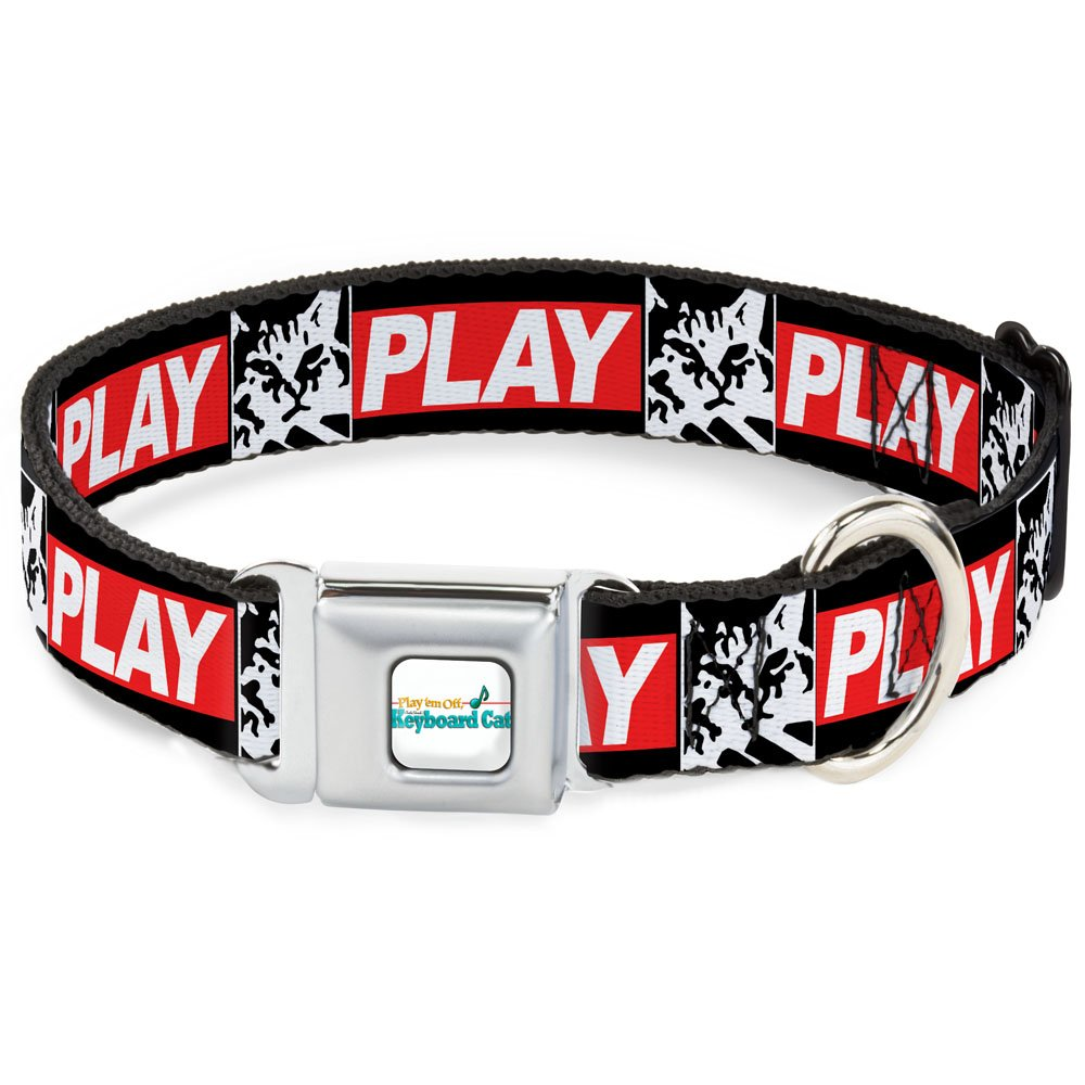 Buckle-Down 15-26  KCE-Keyboard Cat Face Monolith Full color Black White  Dog Collar, Large