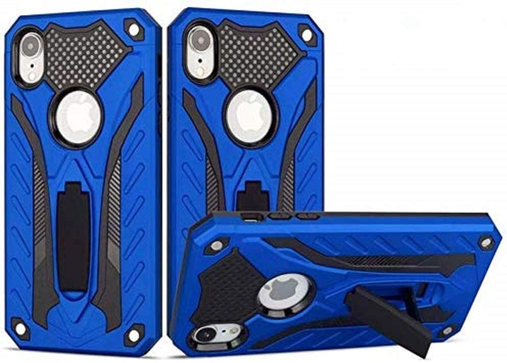 Funfe iPhone Xr Case, Built-in Kickstand Protective Cases for Apple iPhone Xr Dual Layers Armor Shock Rugged Stand Back Cover(Blue)