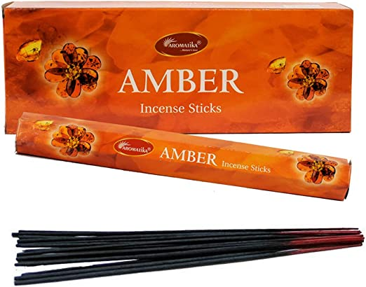 Total of 120 Sticks 6 Packs of 20 Sticks Per Pack HEM Incense Amber Fragrance Odor Smell