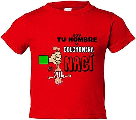 Camiseta niño Atlético de Madrid cochonera nací personalizable con nombre - Rojo, 5-6 años: Amazon.es: Bebé
