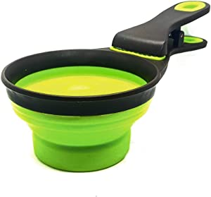 3 in 1 Multi-Function Pet Food Measuring Scoop Collapsible Silicone Bowl with Clip Portion Control for Dogs and Cats or Pets of Any Size 1 Cup (237ml) Size