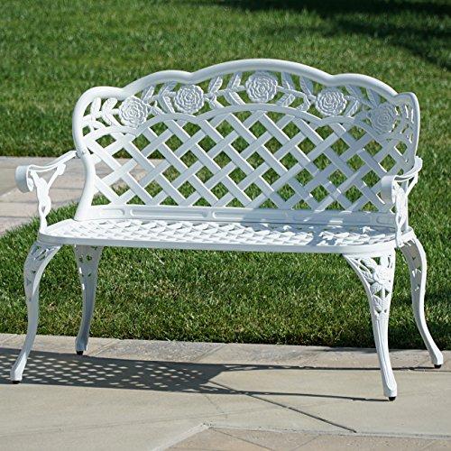 Belleze Outdoor Garden Bench Antique Cast Aluminum Backyard Furniture Patio Porch, White (Chairs Wooden Wicker With Antique Seats)