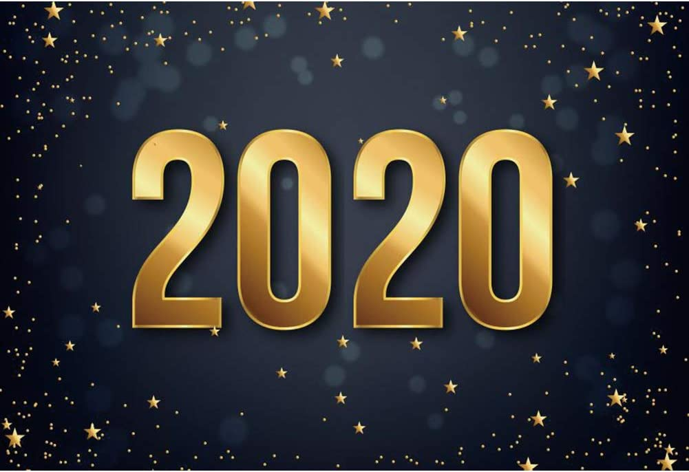 Laeacco Happy New Year 2020 Background 10x6.5ft Christmas Holiday Photography Backdrop Golden Stars Dots Blur Bokeh Halos Carnival Party New Year Eve Xmas Festive Baby Kids Portrait Shoot Decor