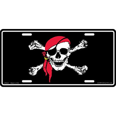 Jolly Roger Pirate with Red Bandanna License Plate: Automotive