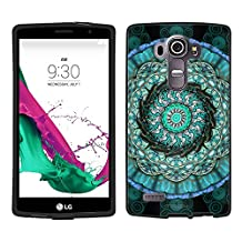 LG G4 Case, Snap On Cover by Trek Mandala Circles Aqua Blue on Black Case