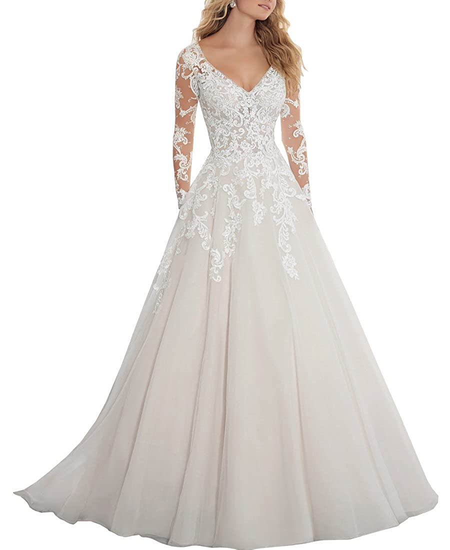 Ezotion Womens V Neck Lace A Line Wedding Dress With Long Sleeves