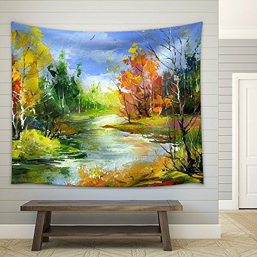 The Autumn Landscape Executed by Oil on a Fabric Wall