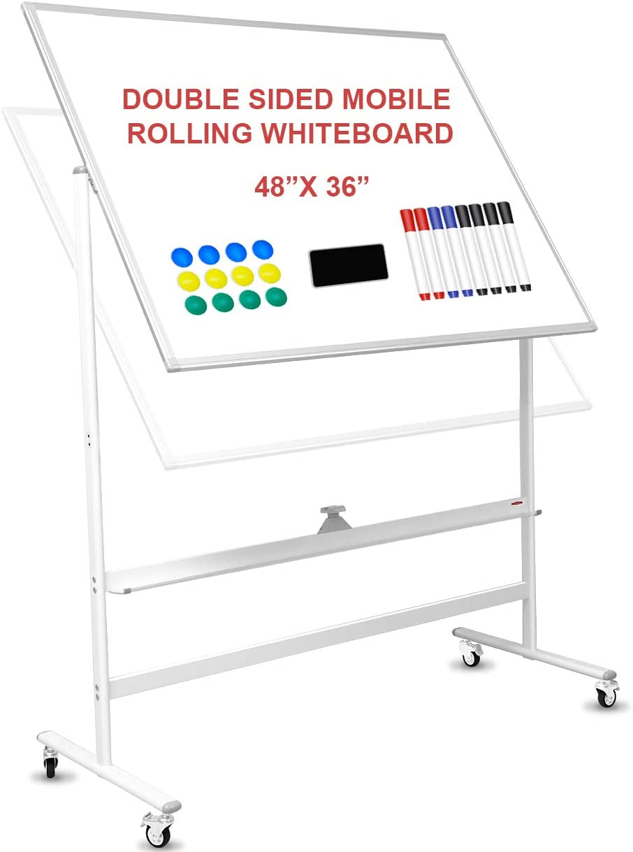 Mobile Whiteboard 48x36 inch SUODUN Large 360° Rolling White Board Easel with Stand on Wheels, Height Adjustable, Double Sided Magnetic, for Home Office School with Flip Chart Holder and Marker Tray