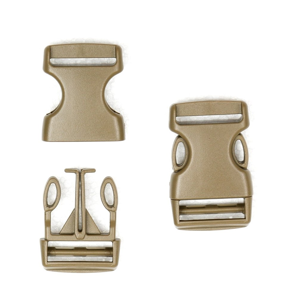 10-1 Inch Coyote Tan Economy Flat Side Release Plastic Buckles