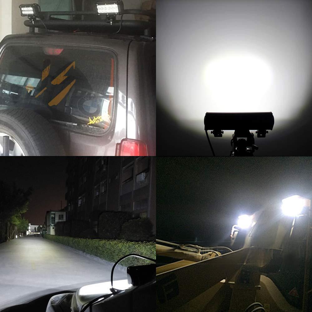 1Pcs 4 Pouces 27W Faisceau de Tache Carr/é LED Lumi/ère LED Barre de Travail Lumi/ère 12V /étanche Projecteur pour Hors Route SUV ATV Camion Bateau Conduite Phares Antibrouillard