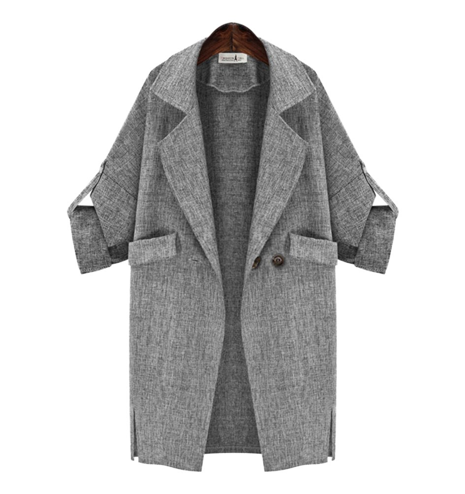 Womens Casual Lapel Roll up Sleeve Loose Open Front Cardigan Jacket Trench Coat S