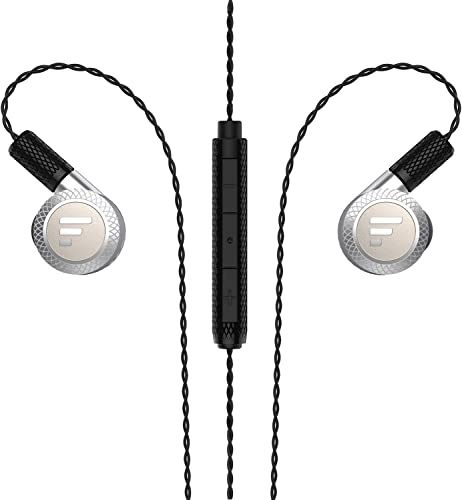 Triple Driver in-Ear Headphones, Fantany Wired Noise Cancelling in Ear Deep Bass Stereo Earbuds with Mic for Smart Phones, PC, Tablet Silver