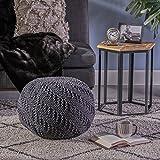 Beryl Knitted Cotton Pouf, Dark Grey