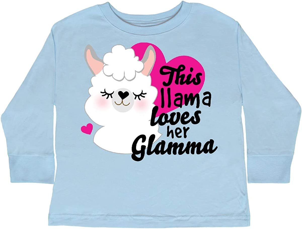 inktastic Valentines Day This Llama Loves Her Glamma Toddler Long Sleeve T-Shirt