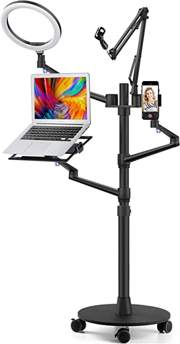 "Viozon Selfie Live Floor Stand Set 5-in-1 10"" LED Ring Light Microphone Mount moveable competiable with 12-17"" laptop/7-13 Tablet/3.5-6"" Phone/Digital Camera SLR&DSLR Online Meeting Recording"