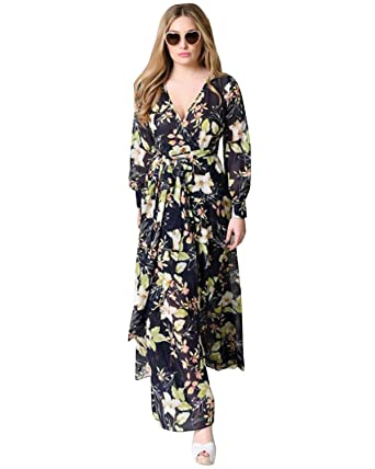 bc2e58ae5e ZAFUL Women Vintage Floral Long Sleeve Dress Bohemian Chiffon Wrap Boho  Maxi Dresses(Black and