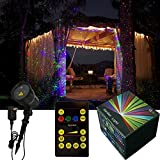2015 Newest RGB Moving Firefly Garden Laser Lights Waterproof Christmas Lights with with 19FT Long Cable RF Remote Control for Christmas Decoration, Holiday Lighting, Home, Garden Tree Decorative (Blue&Green&Red)