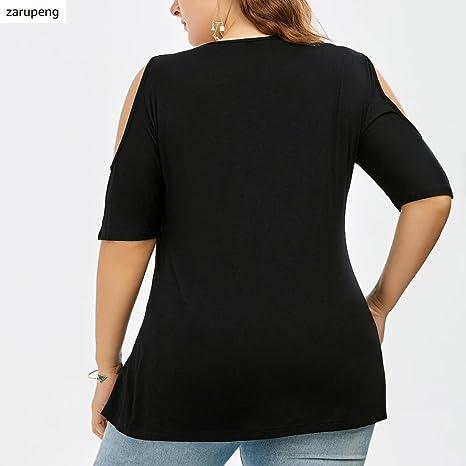 Zarupeng Moda para Mujer Más el Tamaño de Encaje con Cuello en V Hombro sin Tirantes sin Tirantes Blusa: Amazon.es: Ropa y accesorios
