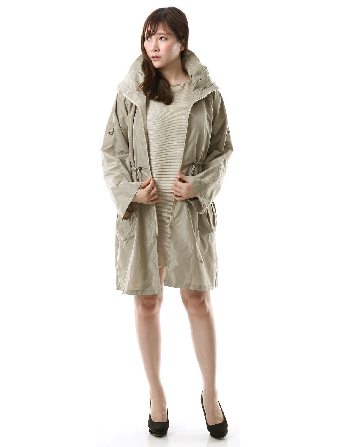 Chic & Elegant High count Knee-length Coat, Great for Business Occasions, Beige M.