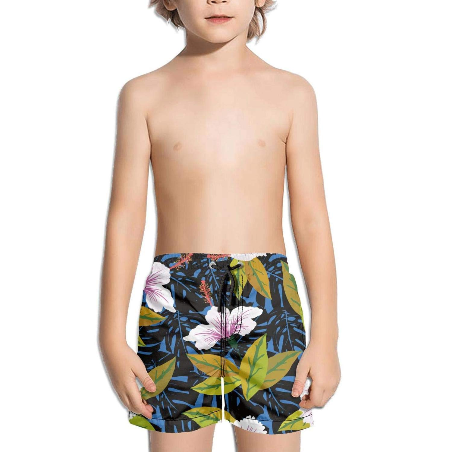 Boys Kids Blue Hawaii Hibiscus Flowers Quick Dry Beach Swim Trunk Funny Swimsuit Beach Shorts with Mesh Lining