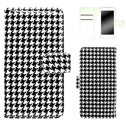 whitenuts ZenFone Max ZC550KL ケース 手帳型 エナメル千鳥 ブラックホワイト スマホケース 手帳 WN-OD258933_LL