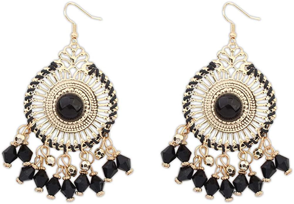 New Vintage Style Rhinestone Dangle Earrings Resin Beads Alloy Earring