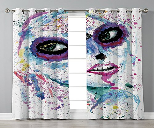 iPrint Stylish Window Curtains,Girls,Grunge Halloween Lady with Sugar Skull Make Up Creepy Dead Face Gothic Woman Artsy,Blue Purple,2 Panel Set Window Drapes,for Living Room Bedroom Kitchen Cafe