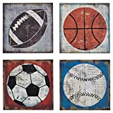 Ashley Furniture Signature Design - Dessa Sports Themed Wood Wall Panels - Set of 4 - Gen Now - Multi-Colored