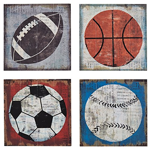 Ashley Furniture Signature Design - Dessa Sports Themed Wood Wall Panels - Set of 4 - Gen Now - Multi-Colored by Signature Design by Ashley