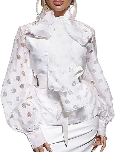 WEIMEITE Camisa De Cuello De Lazo Grande para Mujer Camisa De Manga Linterna con Cordones De Lunares Blusa De Manga Larga De Estilo Vintage: Amazon.es: Ropa y accesorios