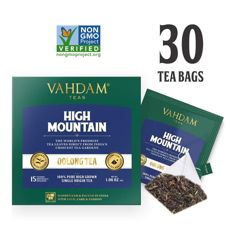 Himalaya-Oolong-Tee (30 Teebeutel) - Oolong-Tee zur Gewichtsreduktion - 100% natürlicher Detox-Tee, Schlankheits-Tee, Oolong-Tee Loose Leaf, Detox-Tee und Schlankheitstee, Brew Hot, Iced oder Kombucha Tee Vahdam