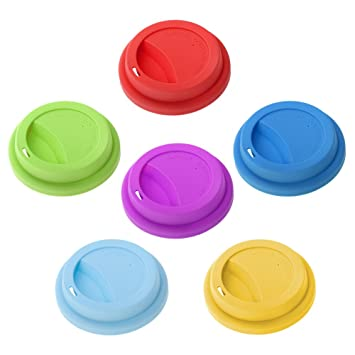 Aspire Coffee Lid Assorted Cup Pcs LidsReusable Coverslids Drinking 6 Silicone Rq5jLA34