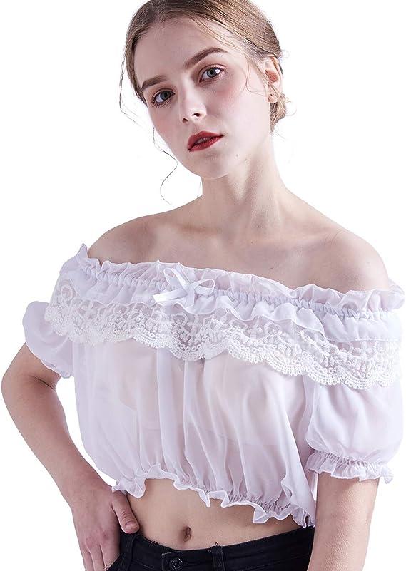 Femme Ruffles Lacet Chemisier Haut Lolita Rétro Gothique Manches Ballons