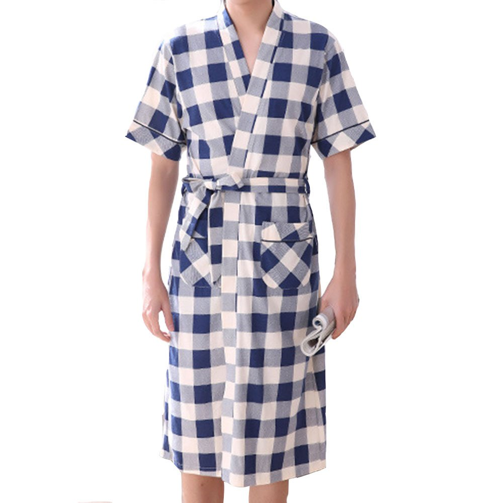 HIENAJ Men's Thin Cotton Plaid Kimono Robes Shawl Collar Lightweight Spa Sleep Bathrobe
