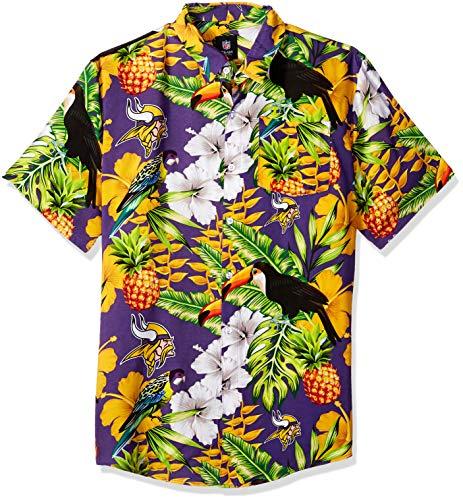 (NFL Minnesota Vikings Mens Floral Tropical Button Up Shirt, Team Color, Large)
