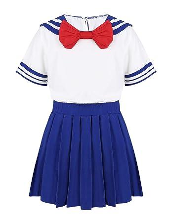 CHICTRY Disfraz para niña, Camiseta y Falda de Pliegues, Uniforme ...