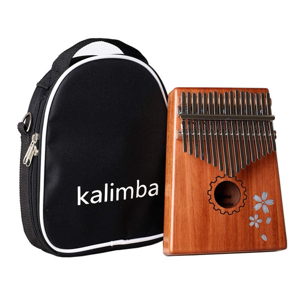 Mahogany Wood 17 Keys Portable Kalimba Thumb Piano Standard C Tune Finger Piano Metal Engraved Notation Tines With Tuning Hammer Carry Case Kids Musical Instrument Gifts for Music Lover Beginners