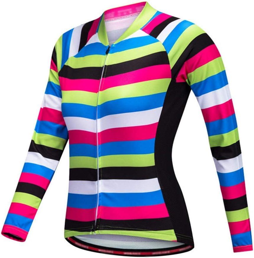 YIJIAHUI Chaqueta de Ciclismo Maillot de Ciclismo de Verano for Mujer, Manga Corta, Estampado, Bici, Bici, Bici, Top de Bicicleta Impermeable a Prueba de Viento (Color : Stripe, Size : M)
